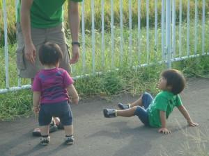 天気が良く外に飛び出して走り回るひ孫達