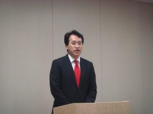 梅津庸成氏 鹿野道彦農林水産大臣政務秘書官に就任とのご挨拶、満場の拍手で頑張れとの激励でした