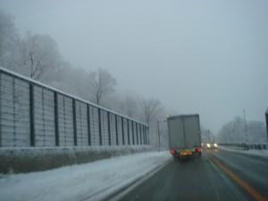 午後3時頃通過した月山新道はすっかり雪化粧