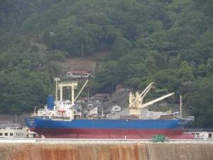 津波によって海ではなく陸にあげられた巨大貨物船