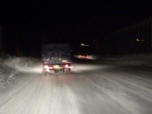 月山新道はすっかり雪景色、道路は完全に圧雪状態でした